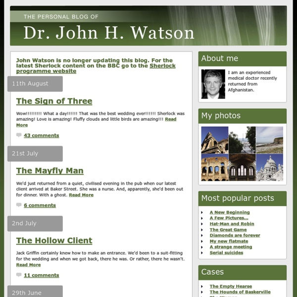 The blog of Dr. John. H. Watson