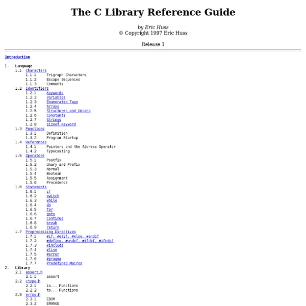 The C Library Reference Guide