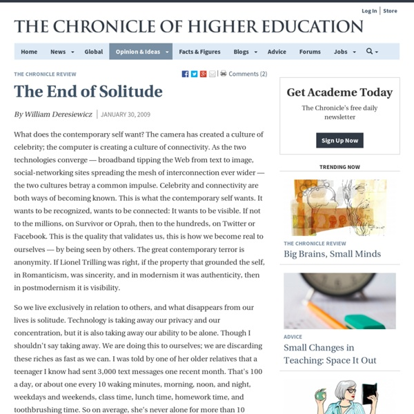The End of Solitude - The Chronicle Review