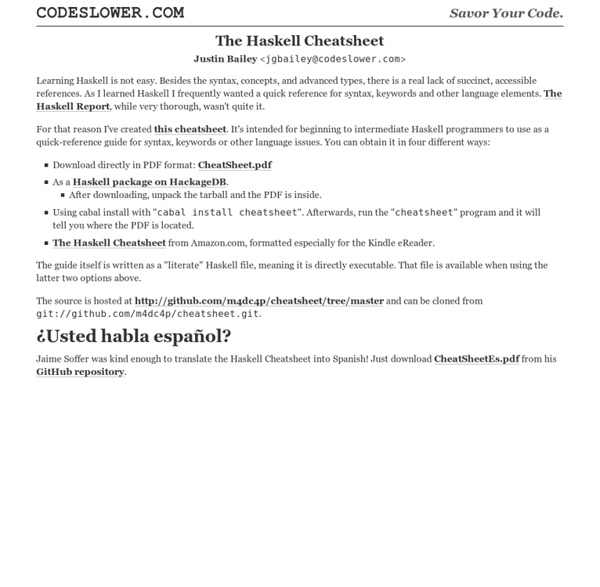 The Haskell Cheatsheet