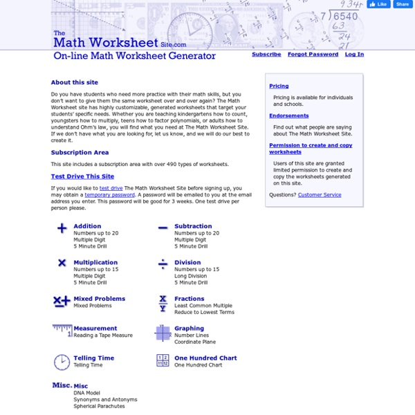 The Math Worksheet Site – The Maths Worksheet