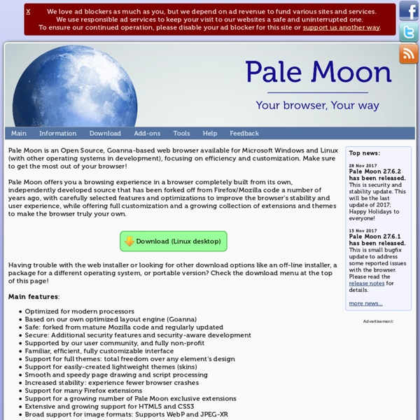 The Pale Moon Project homepage - Cyberfox
