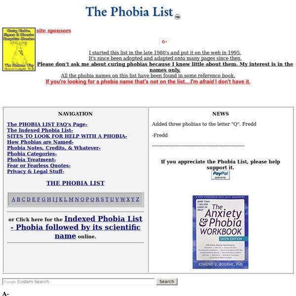 The Phobia List
