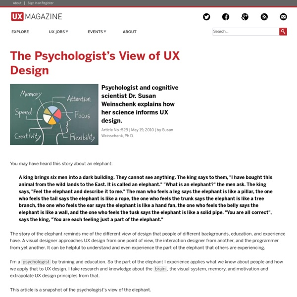 The Psychologist's View of UX Design