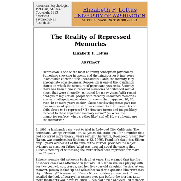The Reality of Repressed Memories