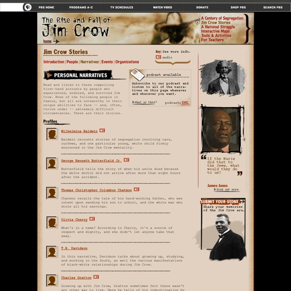 The Rise and Fall of Jim Crow. Jim Crow Stories
