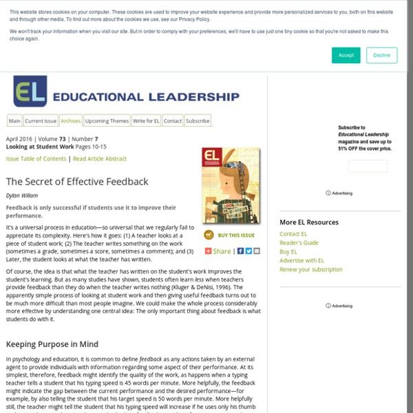 Educational Leadership:Looking at Student Work:The Secret of Effective Feedback