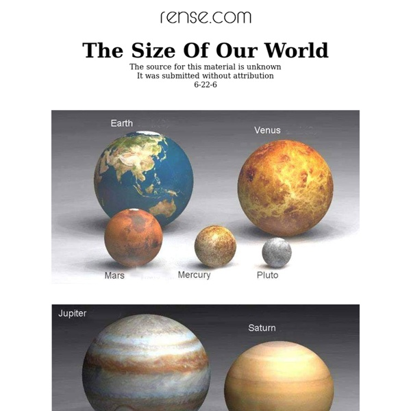 The Size Of Our World
