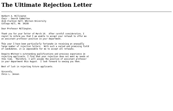Rejection letters for applicants
