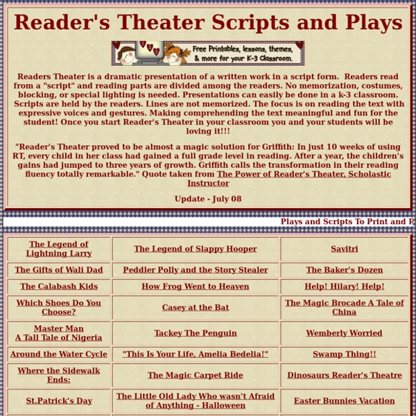 Reader's Theater Scripts and Plays for the Classroom
