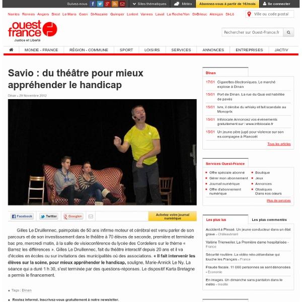 Savio : du théâtre pour mieux appréhender le handicap , Dinan 30/11/2012