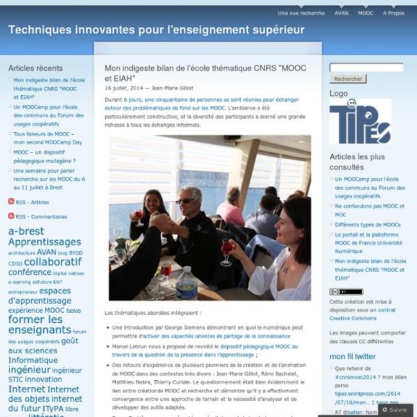 """Mon indigeste bilan de l'école thématique CNRS """"MOOC et EIAH"""""""