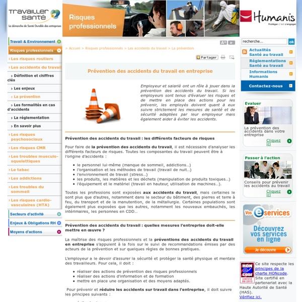 Prévention des accidents du travail en entreprise et des risques