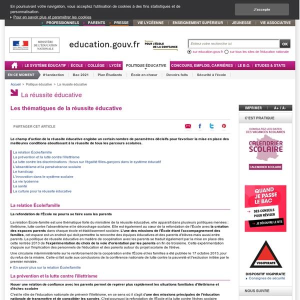 Les thématiques de la réussite éducative - Ministère de l'éducation nationale