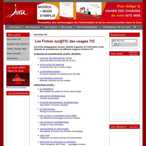 Les fiches thématiques juratic sensibilisation sur internet et les tic pour les entreprises du jura