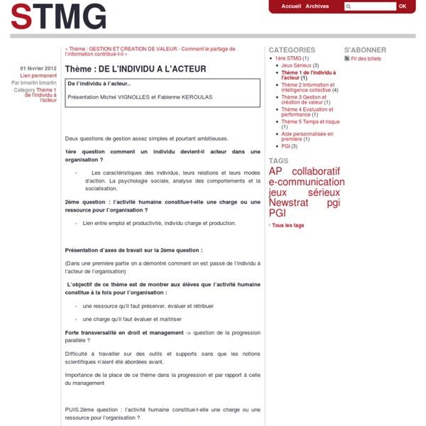 Thème : DE L'INDIVIDU A L'ACTEUR - stmg