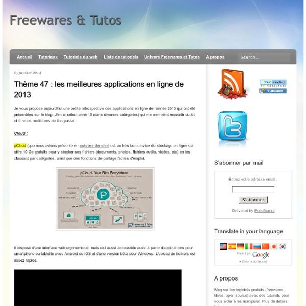Thème 47 : les meilleures applications en ligne de 2013