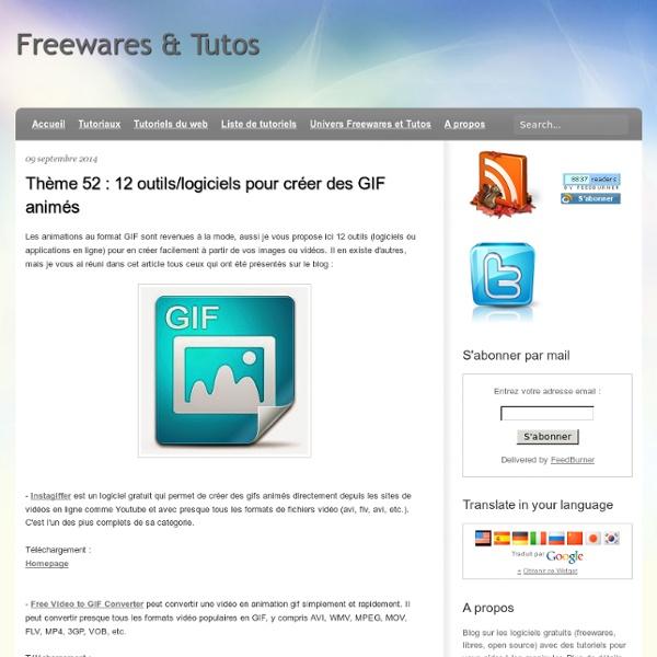 Thème 52 : 12 outils/logiciels pour créer des GIF animés