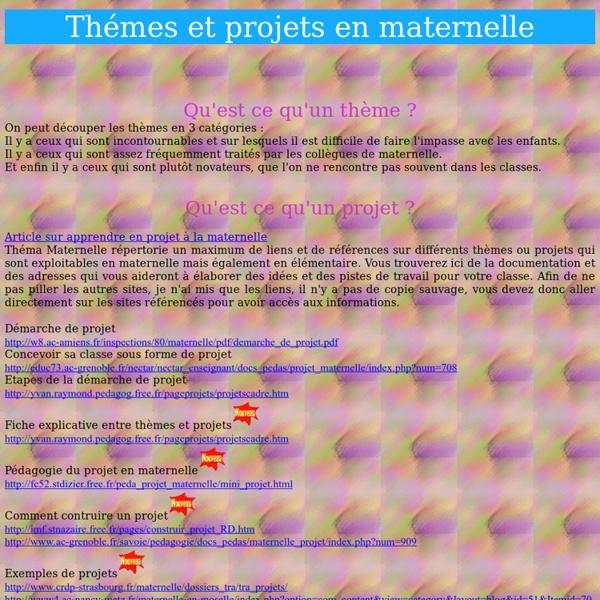 Thèmes et projets en maternelle