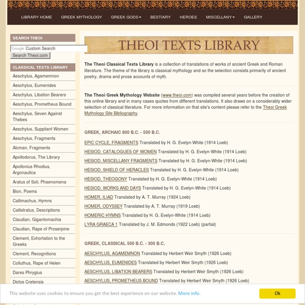 Theoi E-Texts Library of Classical Greek & Roman Literature