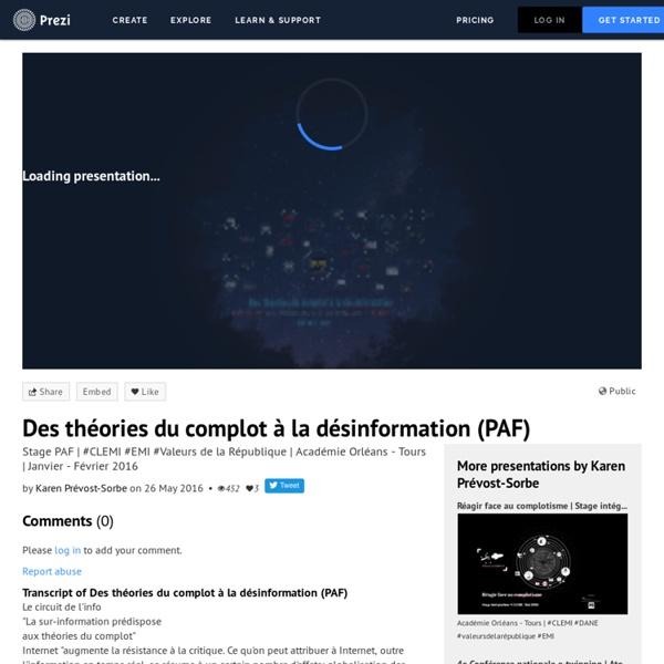 Des théories du complot à la désinformation (PAF) by Karen Prévost-Sorbe on Prezi