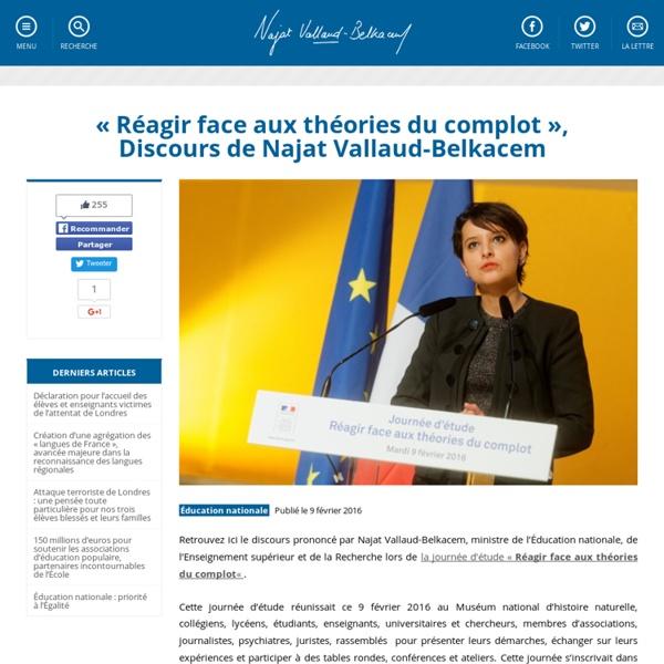 «Réagir face aux théories du complot», Discours de Najat Vallaud-Belkacem