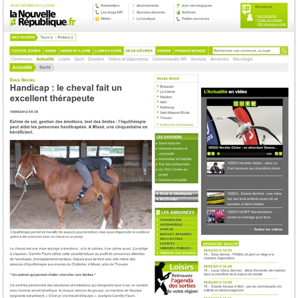 Handicap : le cheval fait un excellent thérapeute – Santé – Actualité – Toute zone