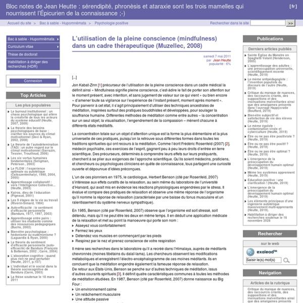 L'utilisation de la pleine conscience (mindfulness) dans un cadre thérapeutique (Muzellec, 2008