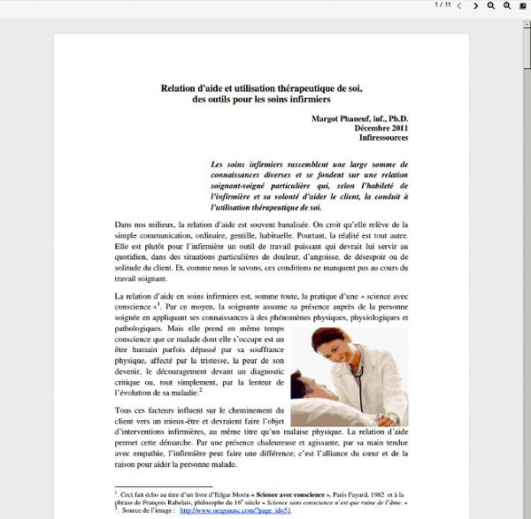 Relation d'aide et utilisation thérapeutique de soi, des outils pour les soins infirmiers
