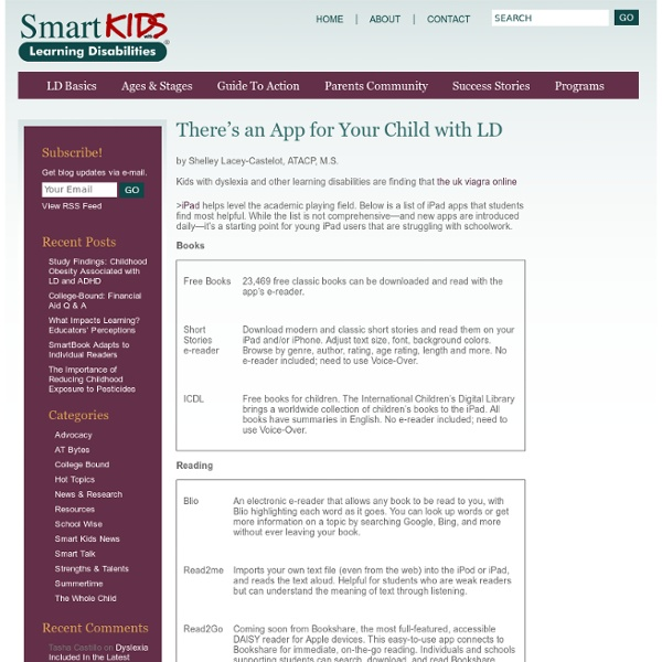 iPad Apps for Kids with LD « Smart Kids With LD