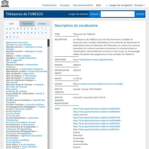 : Thésaurus de l'UNESCO