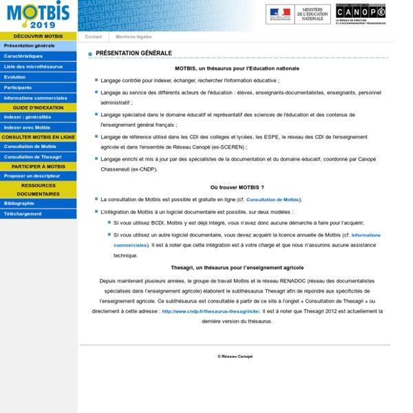 Site du thésaurus MOTBIS 2013 du SCÉRÉN - CNDP