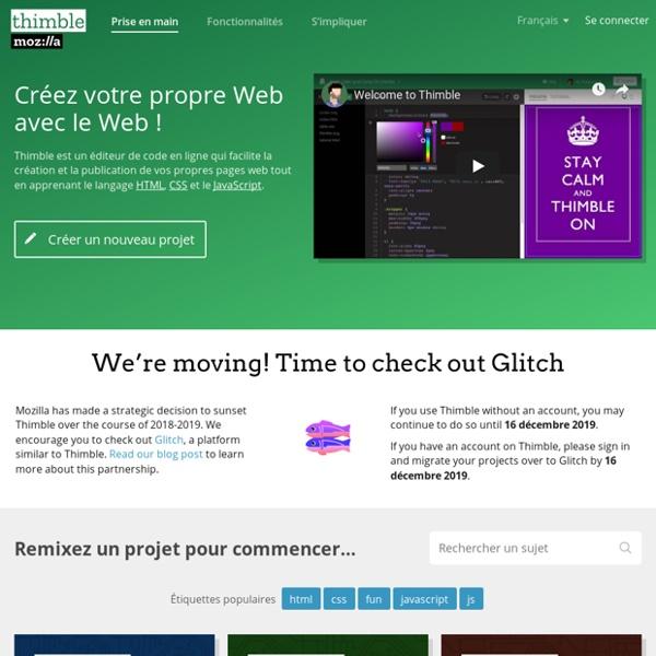 Thimble par Mozilla — Un éditeur de code en ligne pour apprendre et enseigner