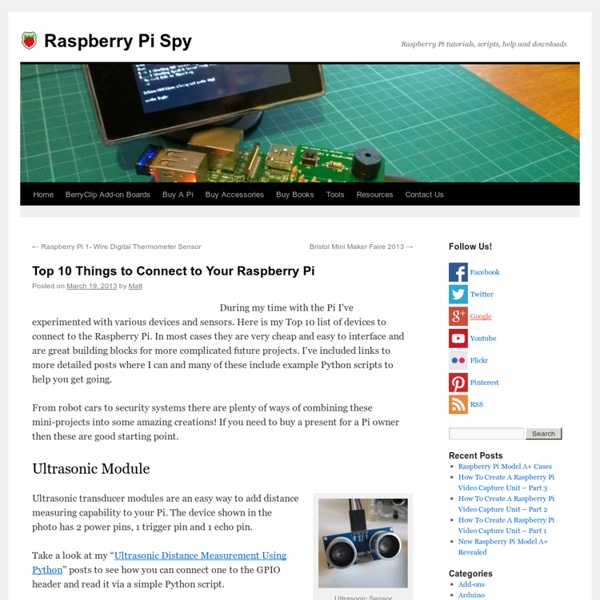 Top 10 Things to Connect to Your Raspberry Pi