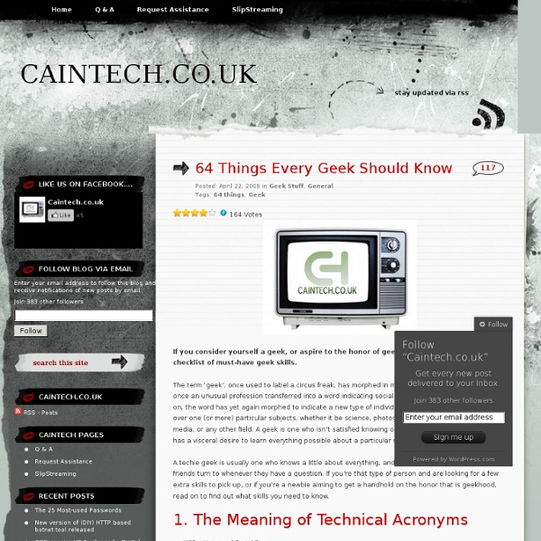 64 Things Every Geek Should Know