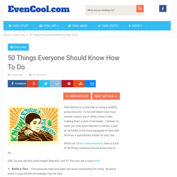 50 Things Everyone Should Know How To Do Pearltrees
