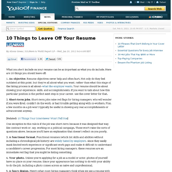 10 things to leave your resume pearltrees