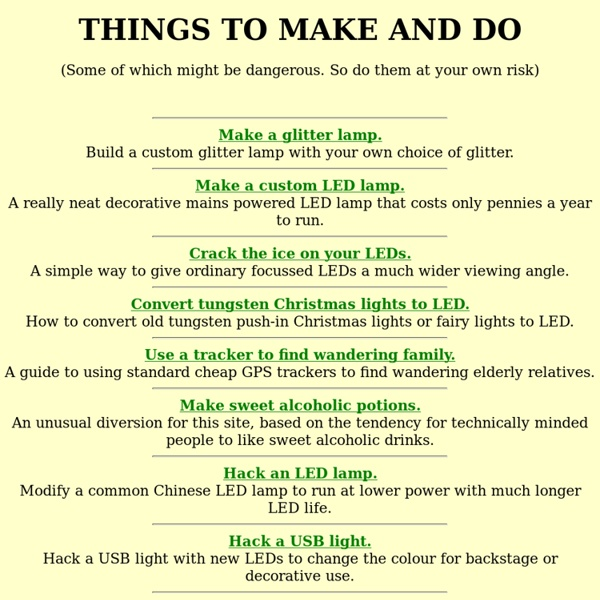 Things to make and do.