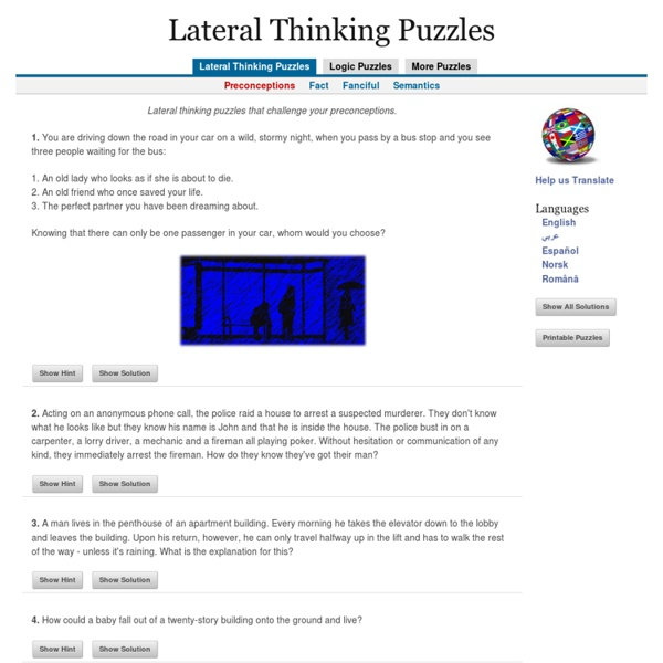 Lateral Thinking Puzzles - Preconceptions