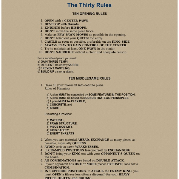 Thirty Rules of Chess