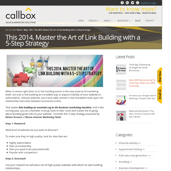 This 2014, Master the Art of Link Building with a 5-Step Strategy