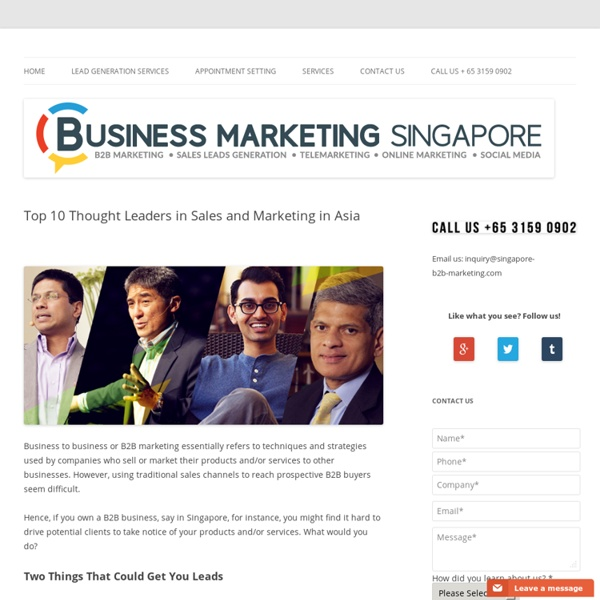 Top 10 Thought Leaders in Sales and Marketing in Asia