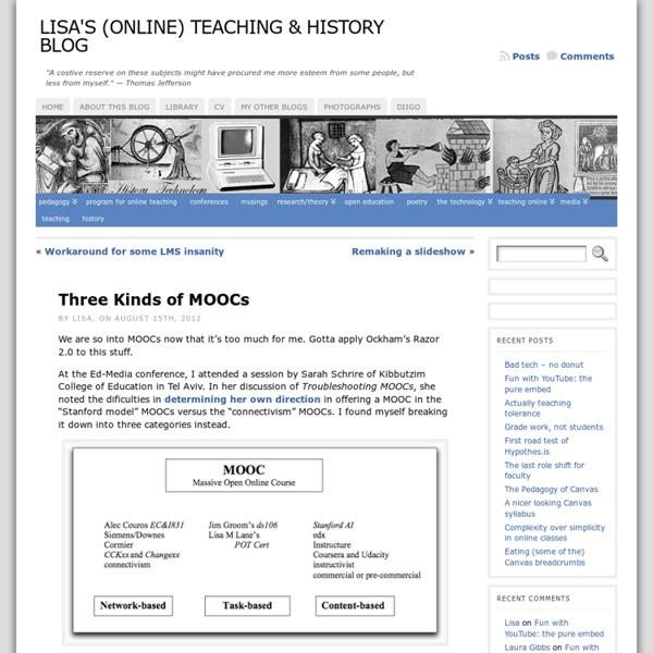 Three Kinds of MOOCs « Lisa's (Online) Teaching & History Blog