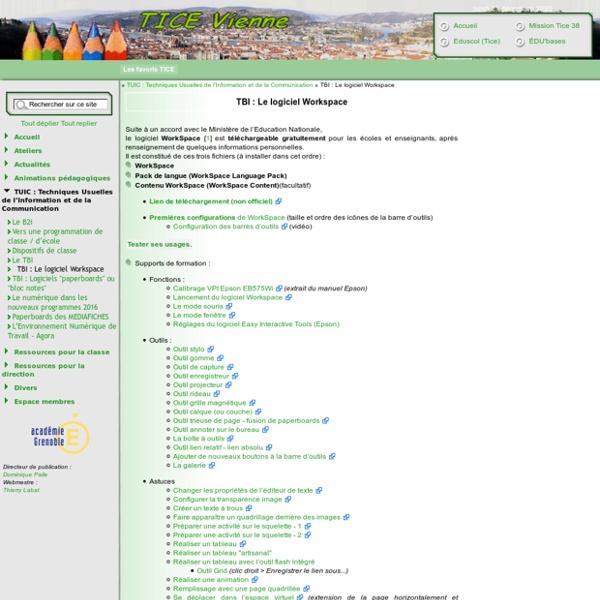 TICE Vienne [TBI : Le logiciel Workspace LE (eInstruction-Interwrite)] :..