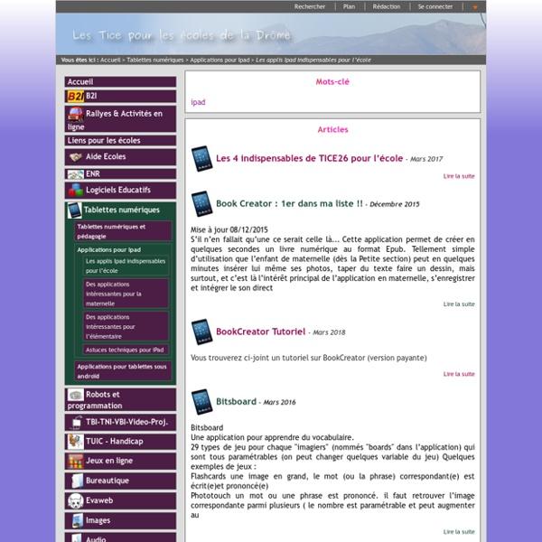 TICE26 - Les applis Ipad indispensables pour la maternelle
