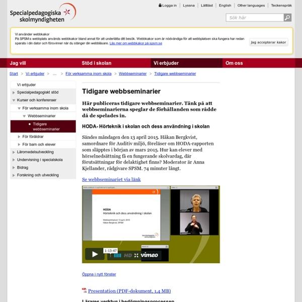 Tidigare webbseminarier - SPSM