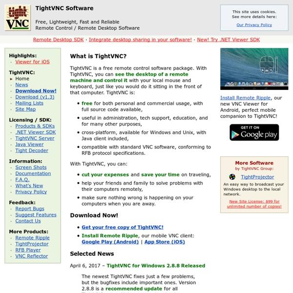 TightVNC: VNC-Compatible Free Remote Control / Remote Desktop Software