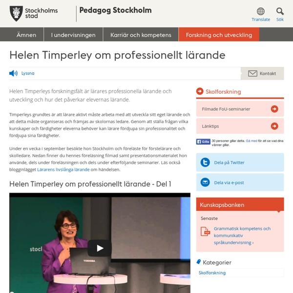Helen Timperley om professionellt lärande