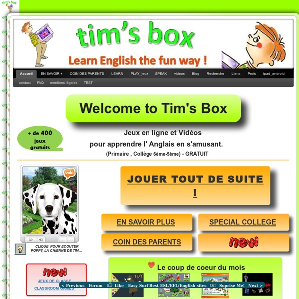 TIMSBOX_Learn English the fun way !-Free online ESL games-Primary Secondary