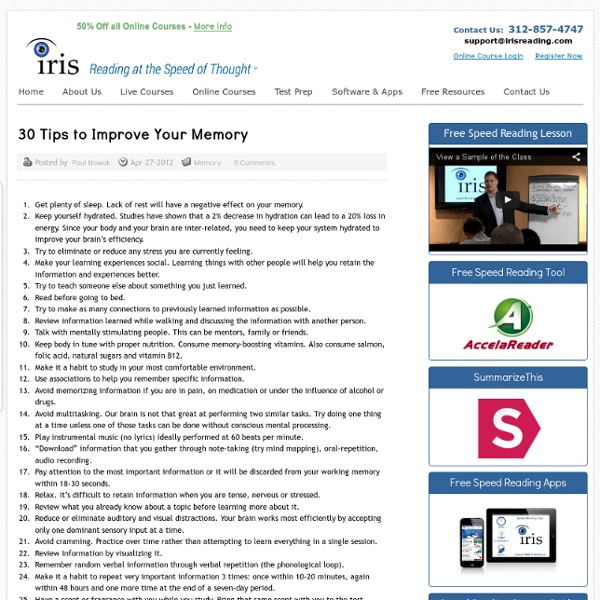 30 Tips to Improve Your Memory
